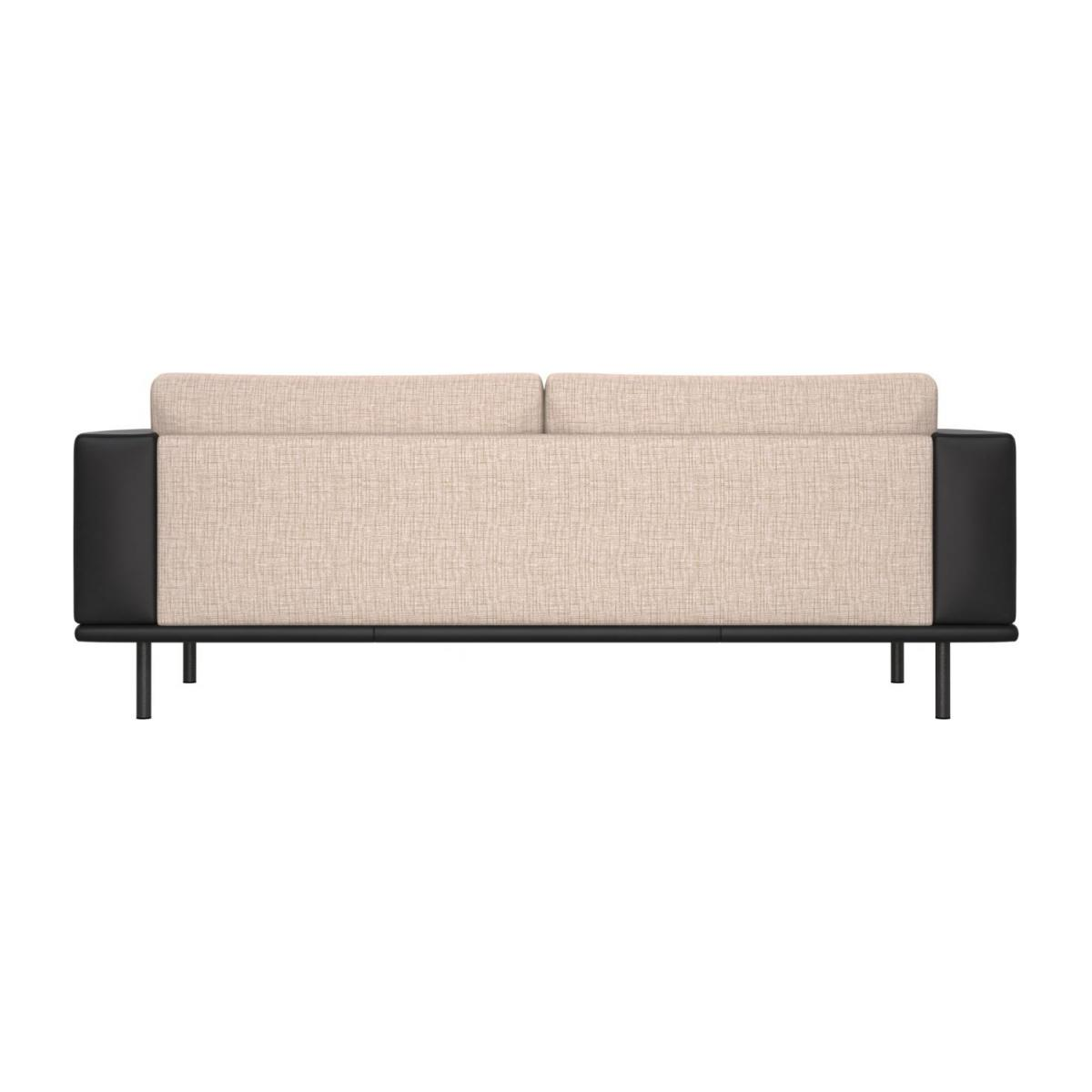 3 seater sofa in Ancio fabric, nature with base and armrests in black leather n°3