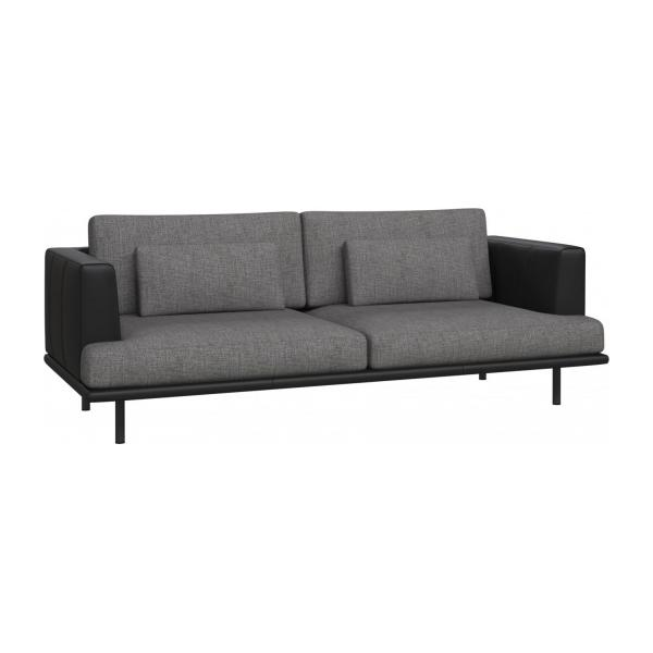 3 seater sofa in Ancio fabric, river rock with base and armrests in black leather
