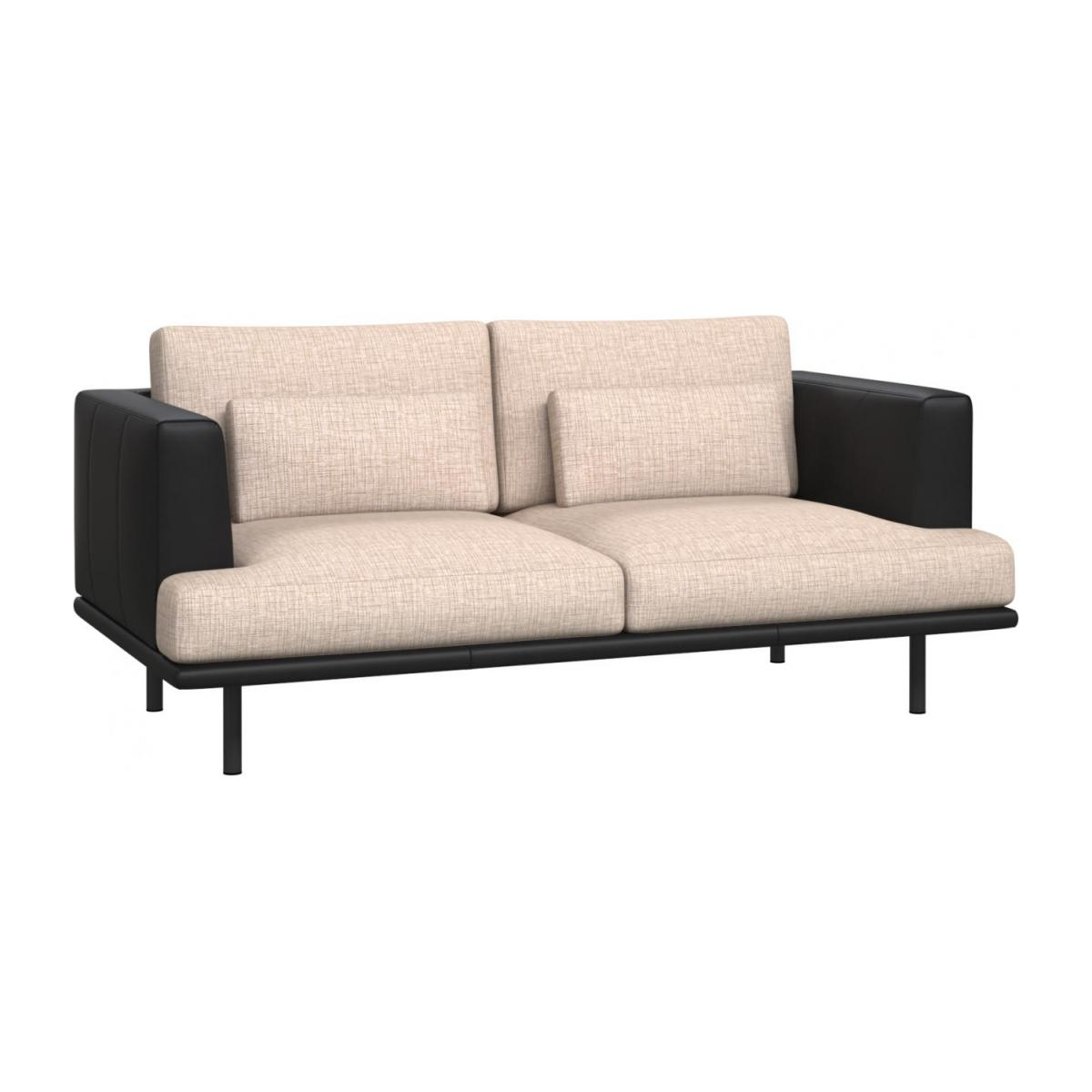 2 seater sofa in Ancio fabric, nature with base and armrests in black leather n°1