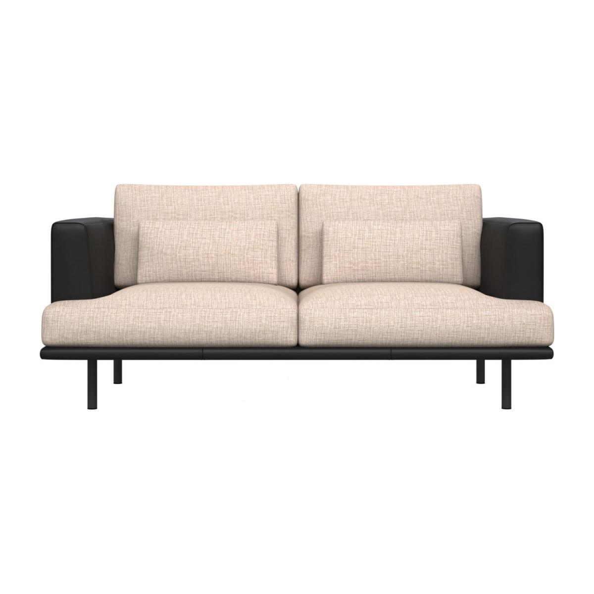 2 seater sofa in Ancio fabric, nature with base and armrests in black leather n°2