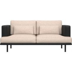 2 seater sofa in Ancio fabric, nature with base and armrests in black leather