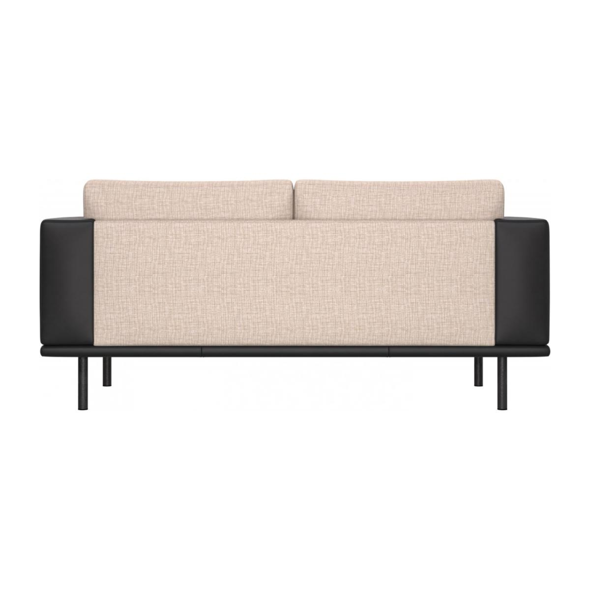 2 seater sofa in Ancio fabric, nature with base and armrests in black leather n°3