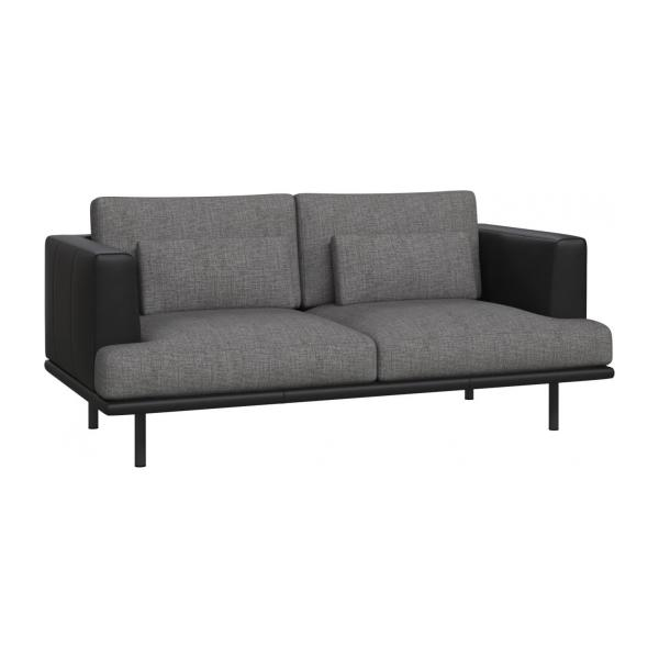 2 seater sofa in Ancio fabric, river rock with base and armrests in black leather