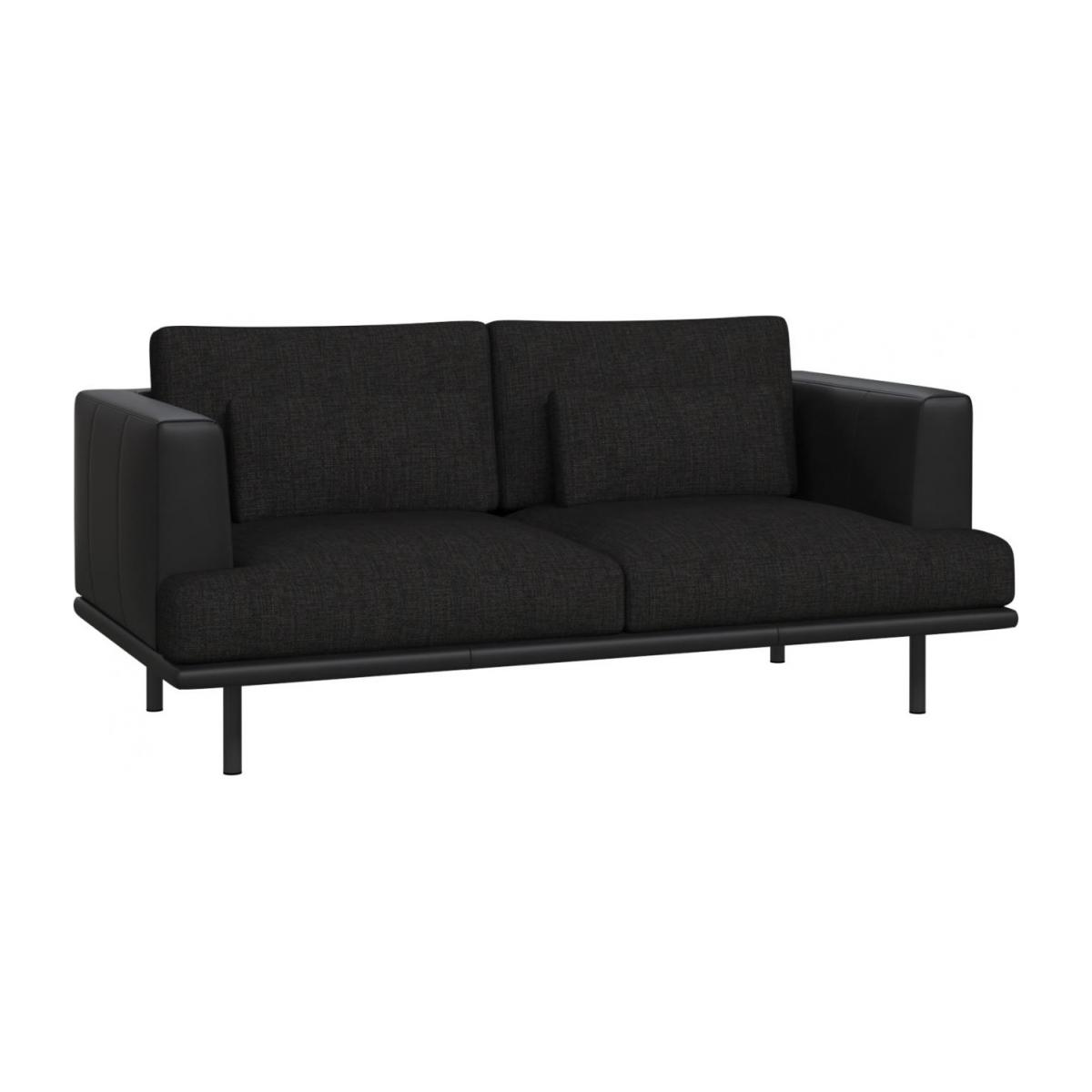 2-seter sofa Ancio sort med base og vanger i sort skinn n°1