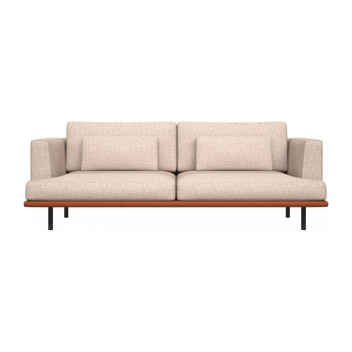3 seater sofa in Ancio fabric, nature with base in brown leather n°2
