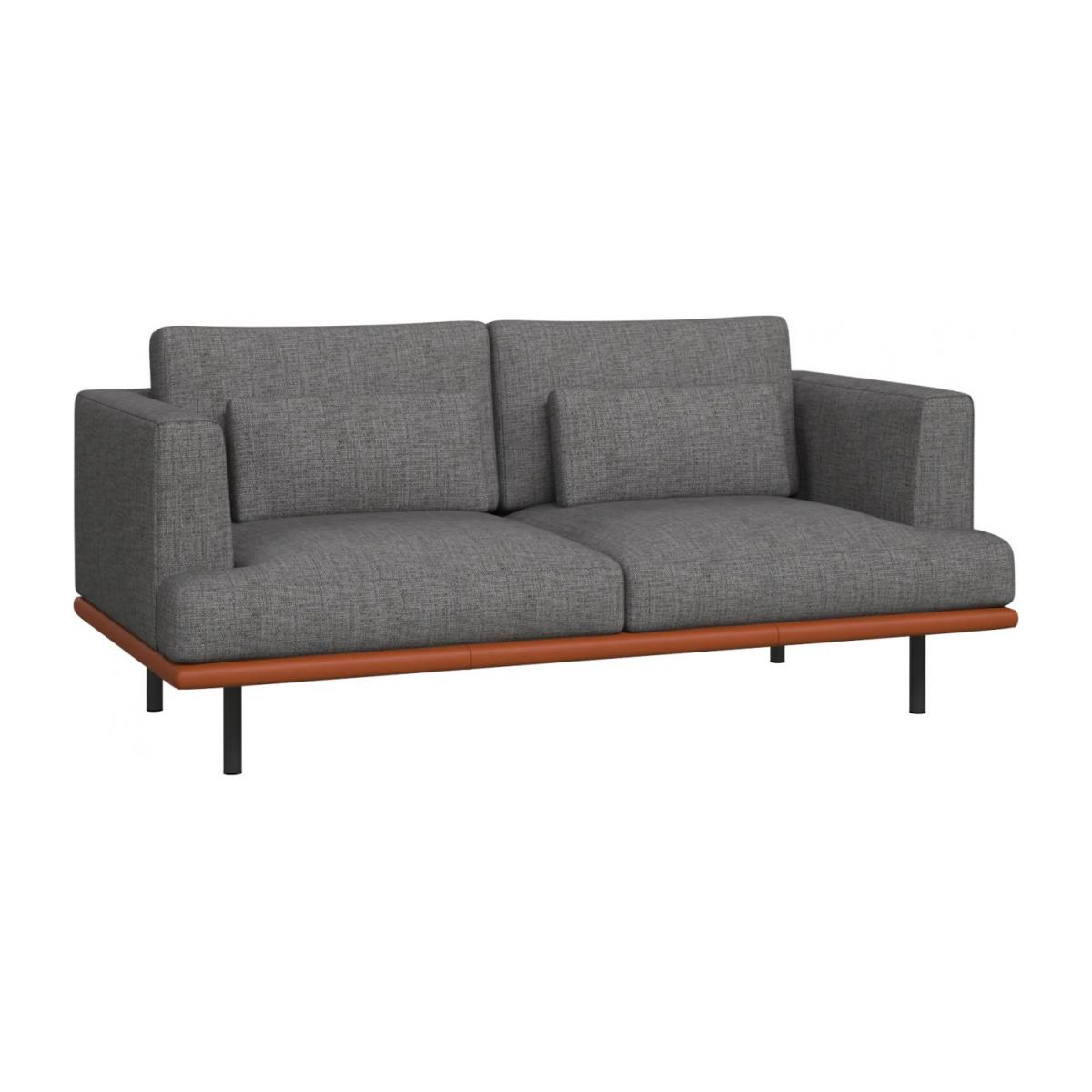 2-seter sofa Ancio river rock med base i brun skinn n°1