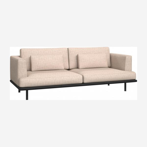 3 seater sofa in Ancio fabric, nature with base in black leather