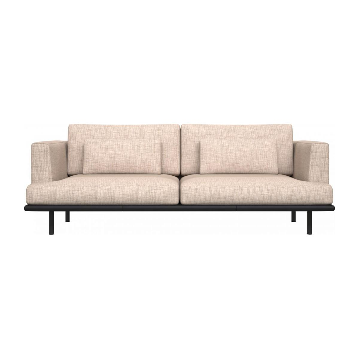 3 seater sofa in Ancio fabric, nature with base in black leather n°2