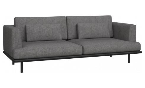 3-seter sofa Ancio river rock med base i sort skinn