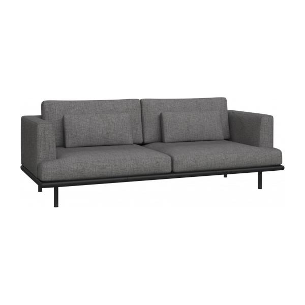 3 seater sofa in Ancio fabric, river rock with base in black leather