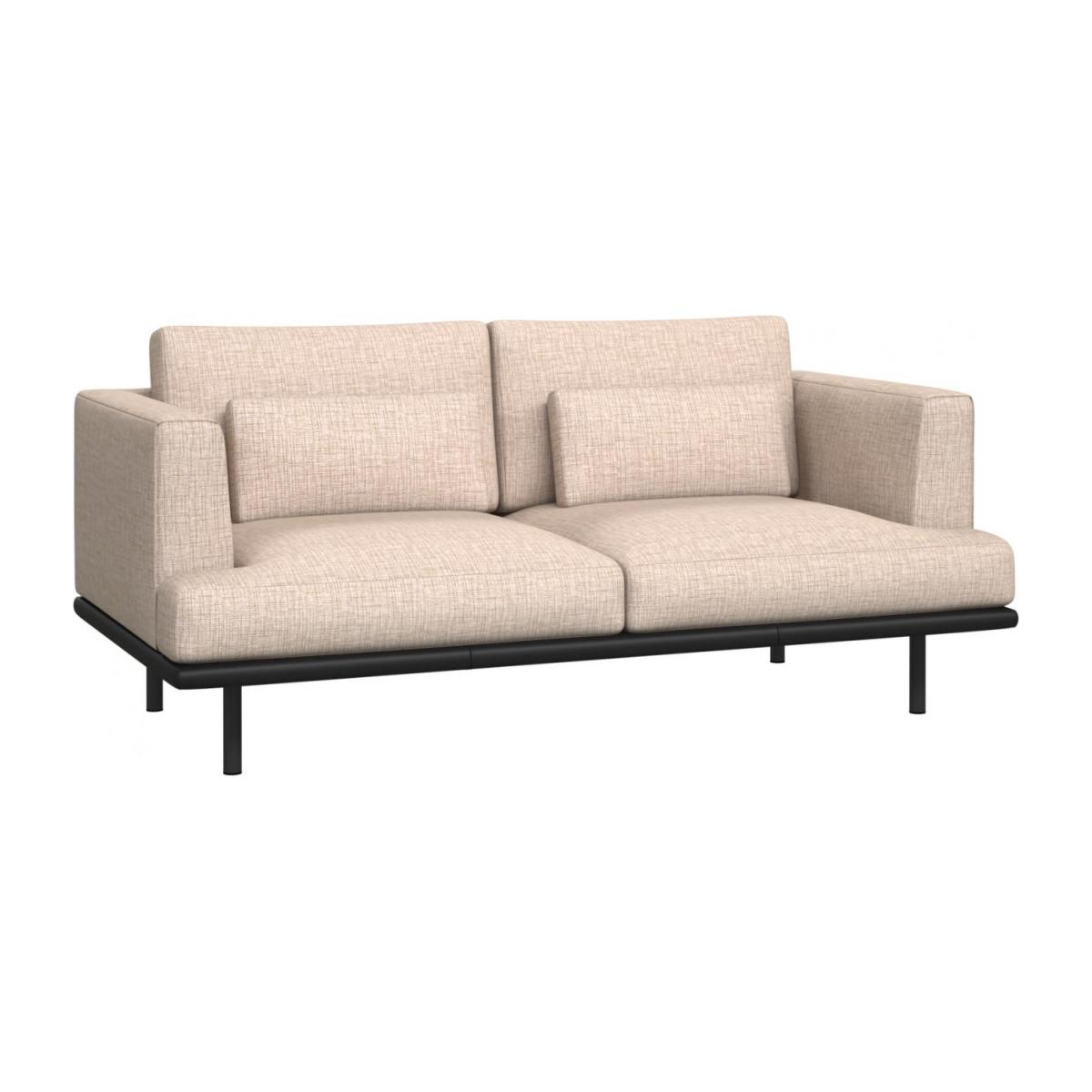 2 seater sofa in Ancio fabric, nature with base in black leather n°1
