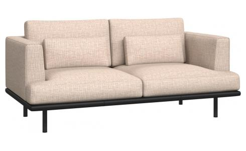 2-seter sofa Ancio natur med base i sort skinn