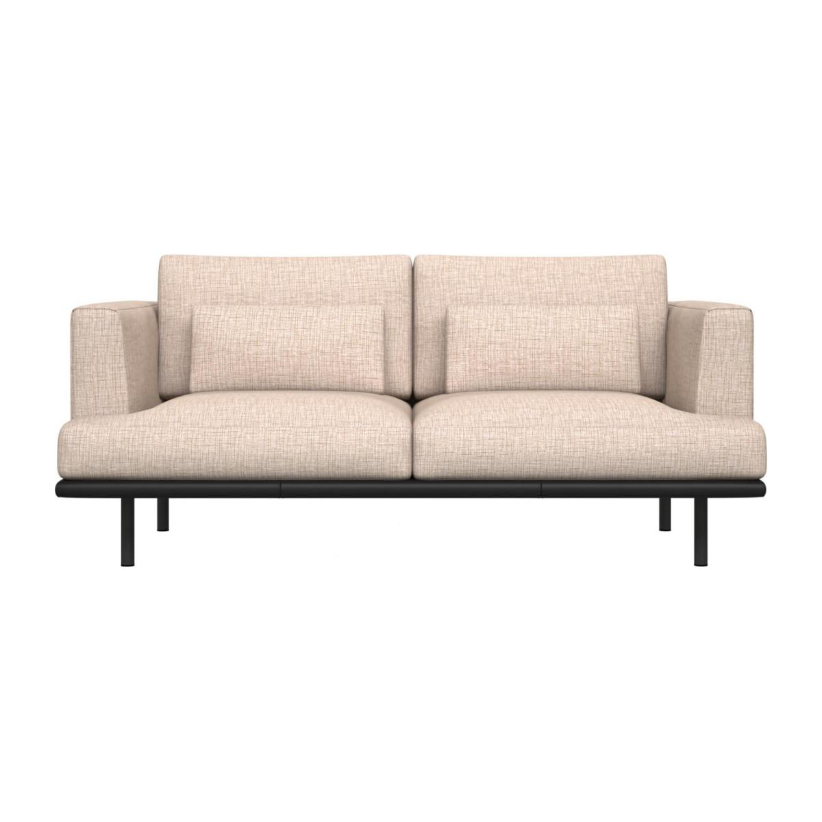 2 seater sofa in Ancio fabric, nature with base in black leather n°2