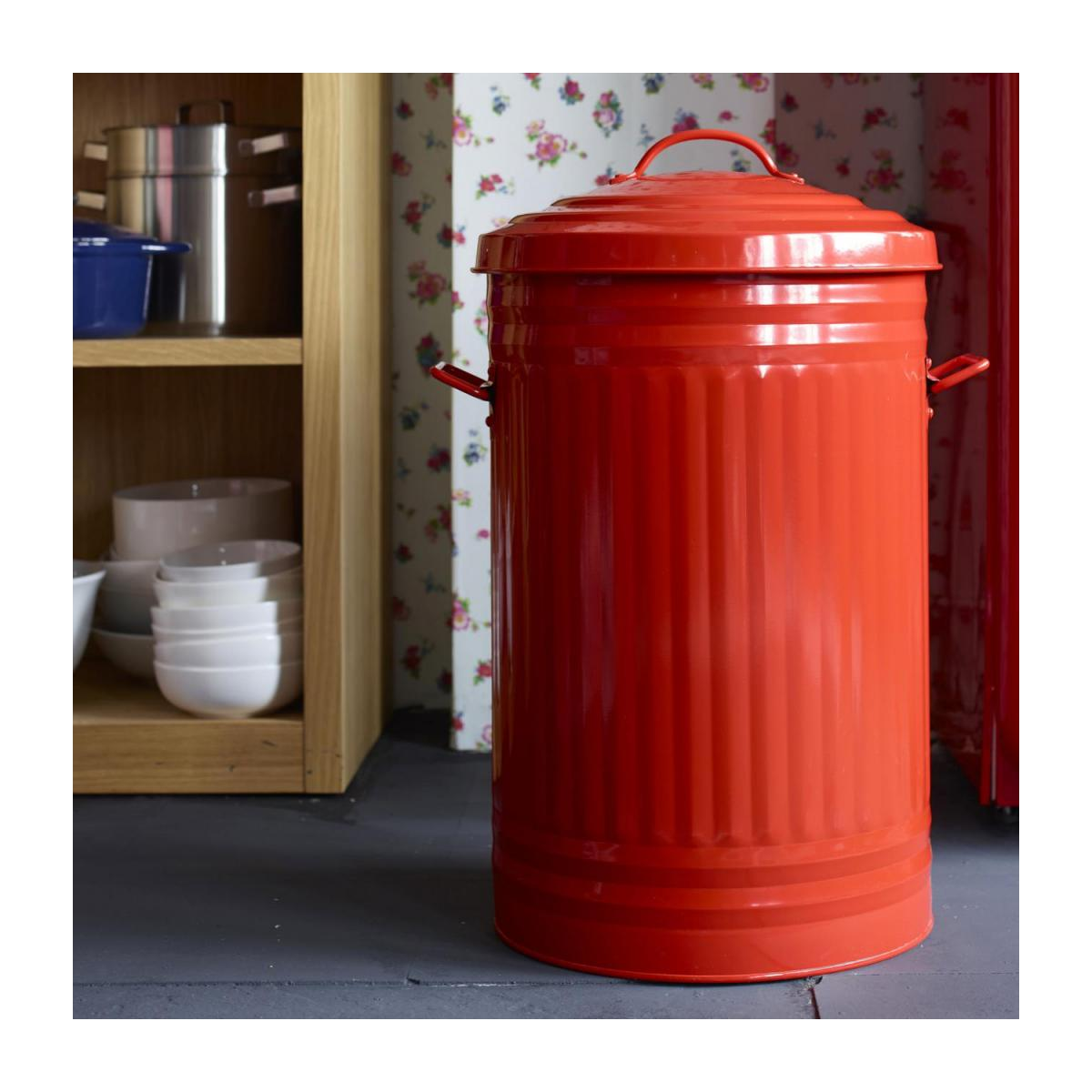 Round trash can, red 52L n°9