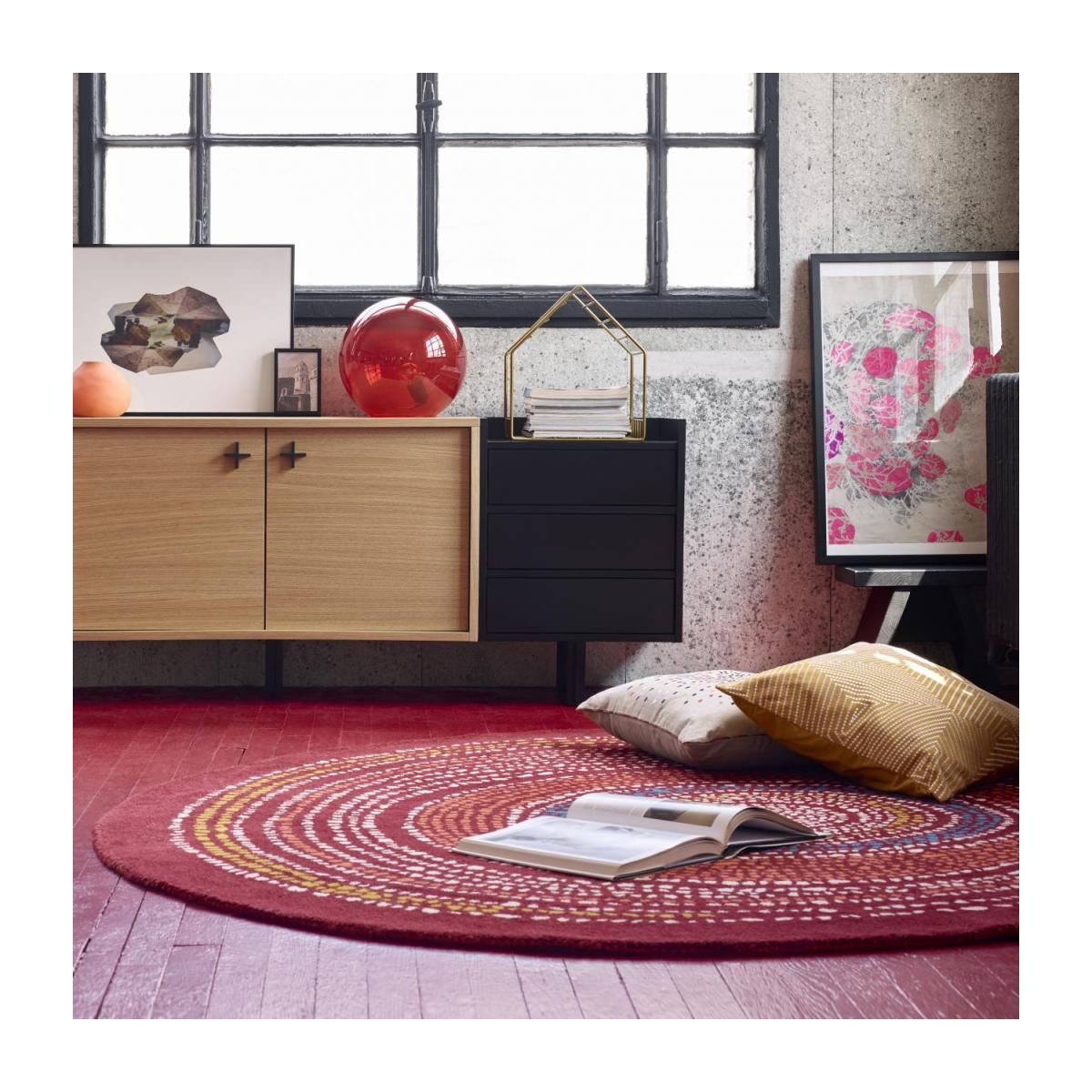 Tufted carpet 200cm, red with patterns n°3