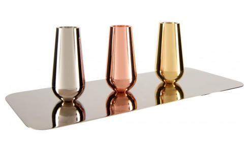 Set of 3 magnetic candle holders made of metal - Design by Spyros Kizis