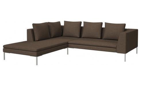 2-Sitzer Sofa aus Stoff Lecce burned orange mit Chaiselongue links