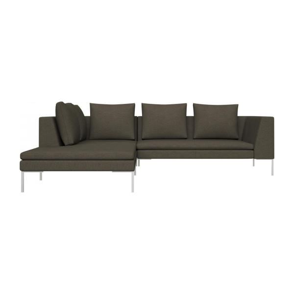 2 Seater Sofa With Chaise Longue On The Left In Lecce Fabric, Slade Grey N