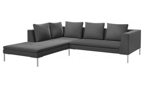 2 seater sofa with chaise longue on the left in Super Velvet fabric, silver grey