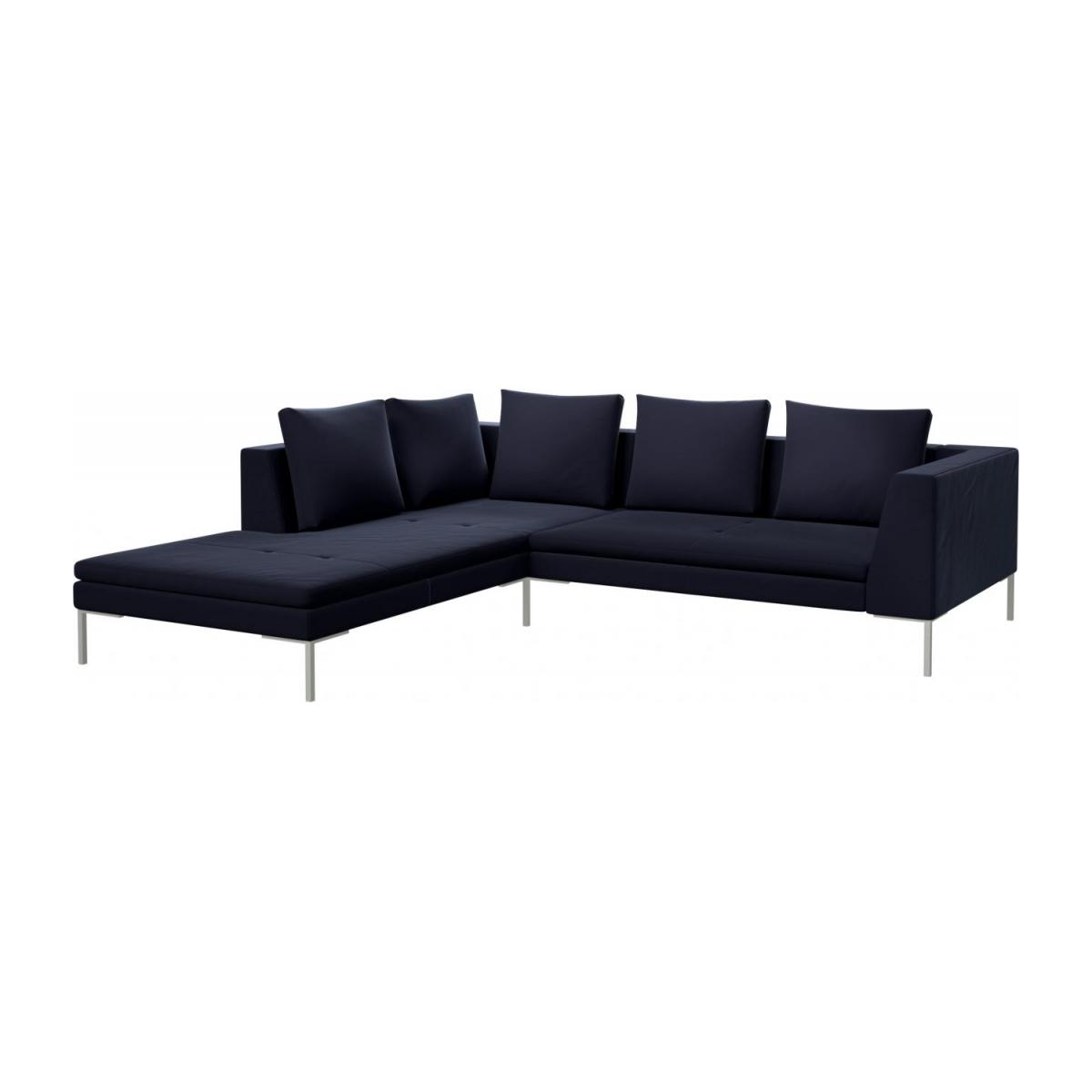 2 seater sofa with chaise longue on the left in Super Velvet fabric, dark blue  n°1