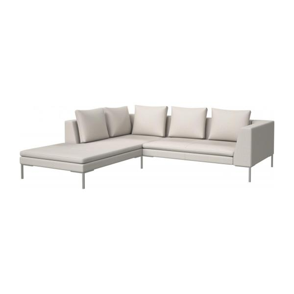 2 Seater Sofa With Chaise Longue On The Left In Fasoli Fabric, Snow White N
