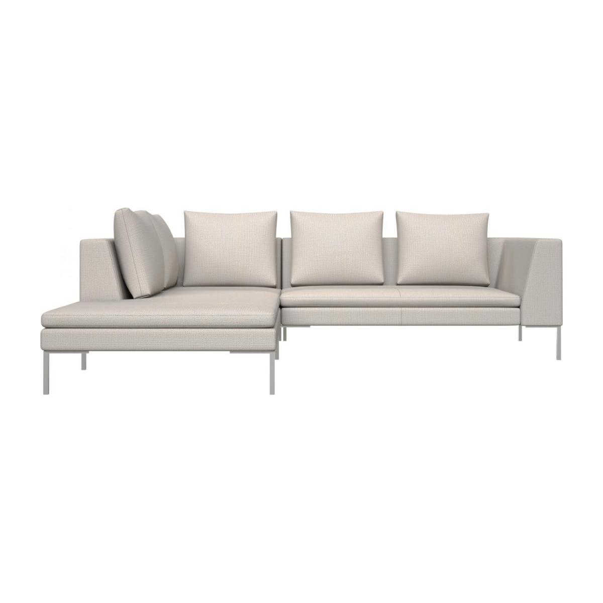 2 seater sofa with chaise longue on the left in Fasoli fabric, snow white  n°2