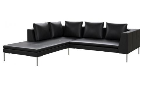 2-Sitzer Sofa aus Semianilinleder Savoy platin black mit Chaiselongue links