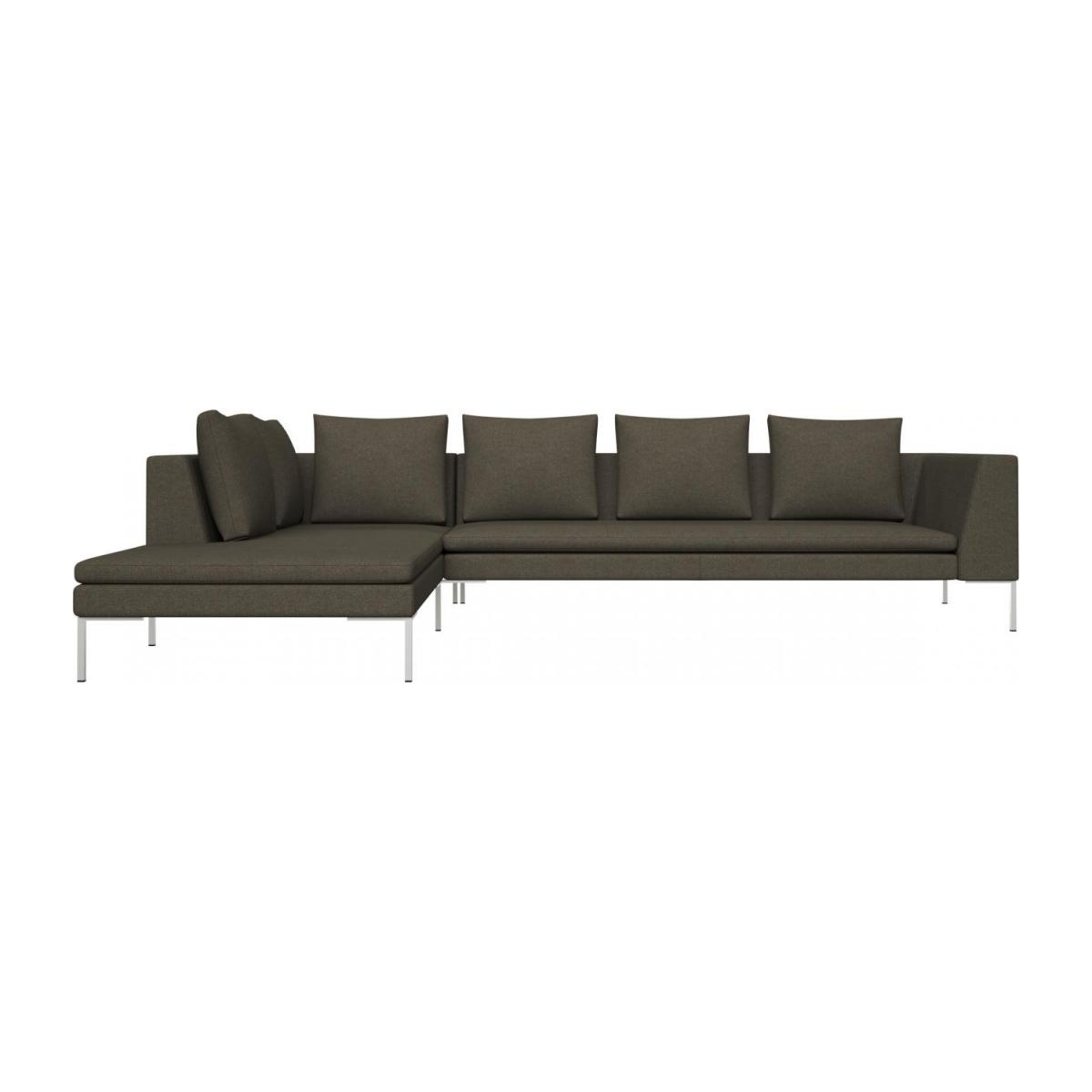 3 seater sofa with chaise longue on the left in Lecce fabric, slade grey  n°2
