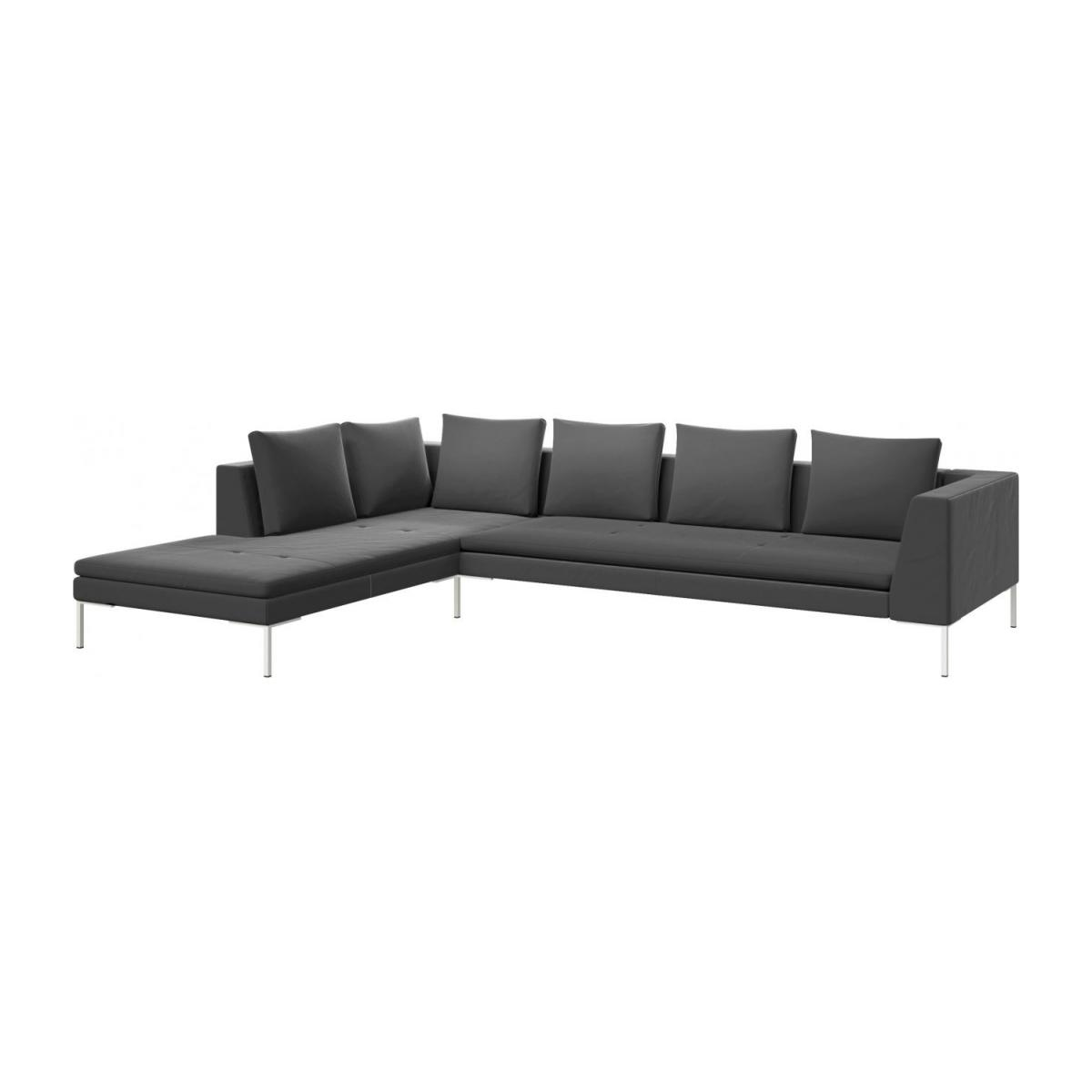 3 seater sofa with chaise longue on the left in Super Velvet fabric, silver grey  n°1