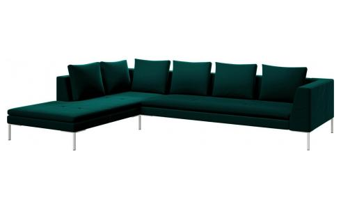 3-Sitzer Sofa aus Samt Super Velvet petrol blue mit Chaiselongue links