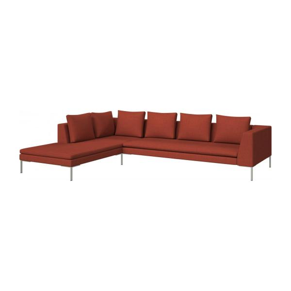 3 seater sofa with chaise longue on the left in Fasoli fabric, warm red rock