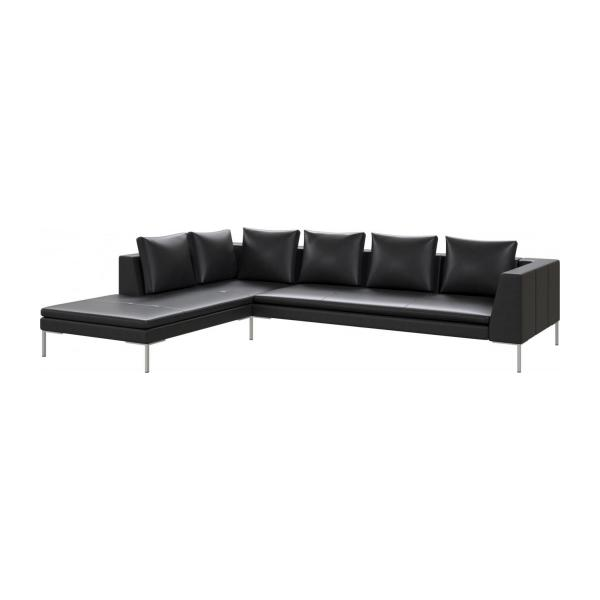 3 seater sofa with chaise longue on the left in Savoy semi-aniline leather, platin black