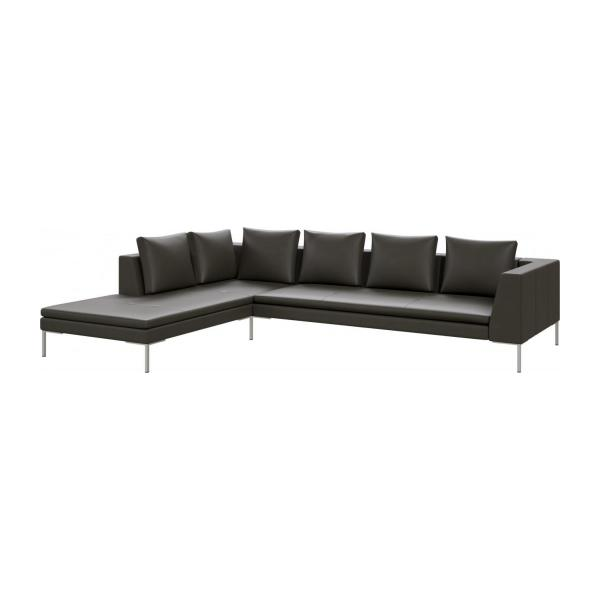 montino 3 sitzer sofa aus semianilinleder savoy grey mit chaiselongue links habitat. Black Bedroom Furniture Sets. Home Design Ideas