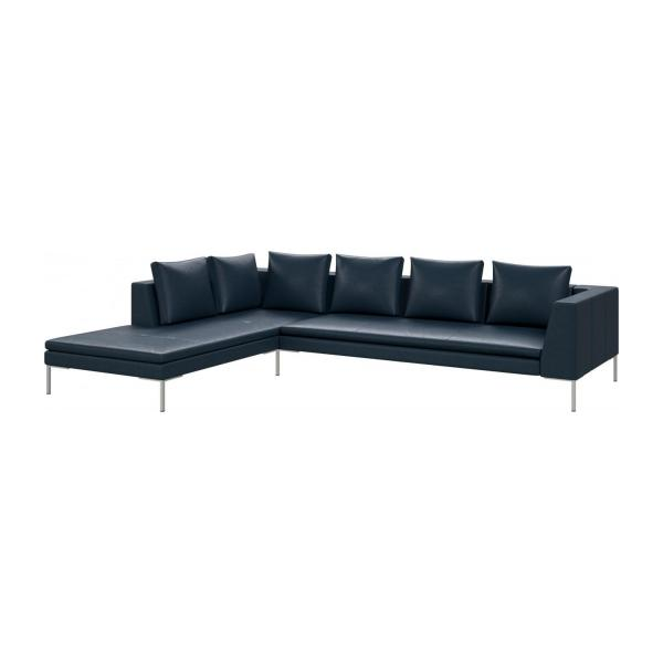 3 seater sofa with chaise longue on the left in Vintage aniline leather, denim blue