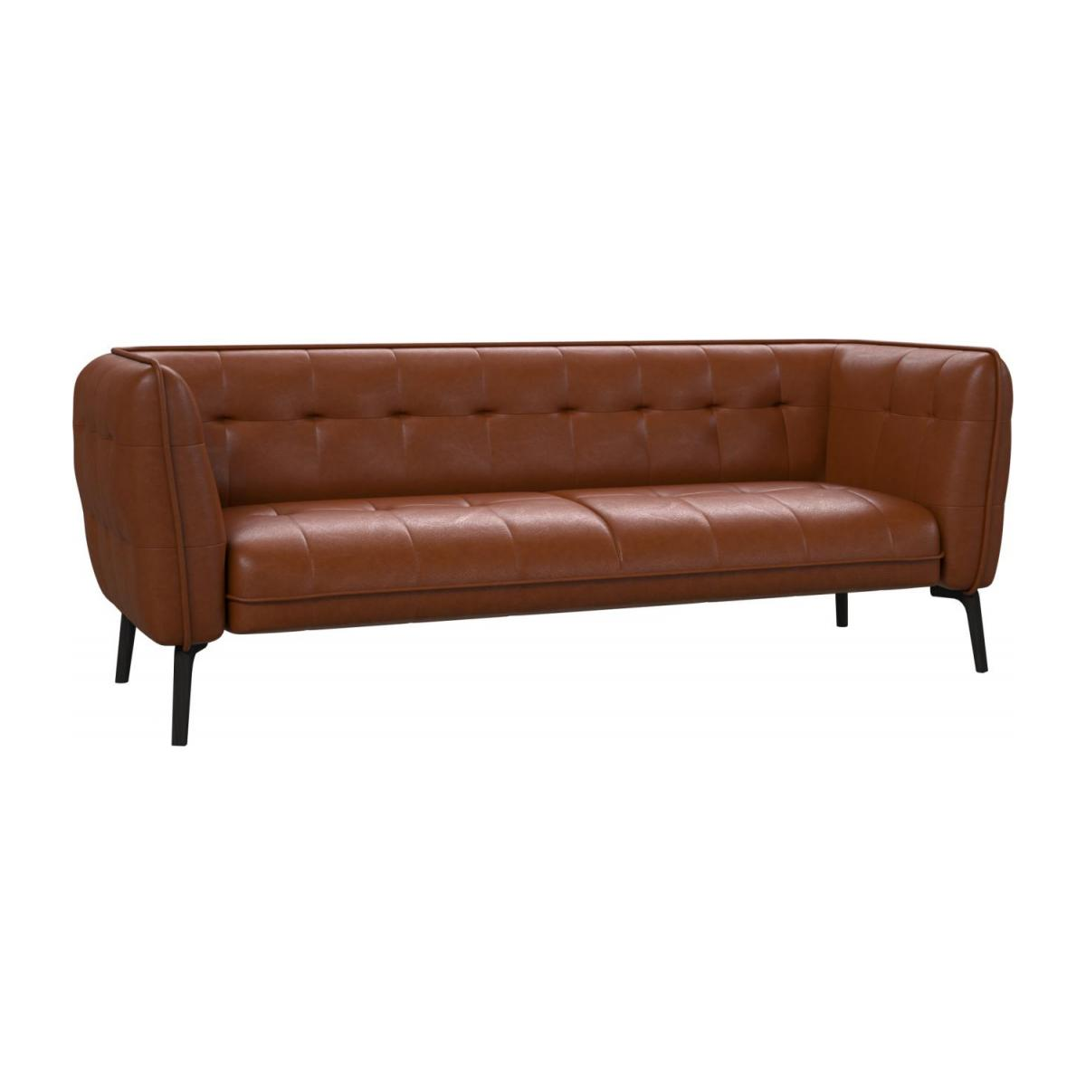 3 seater sofa in Vintage aniline leather, old chestnut and dark feet n°1