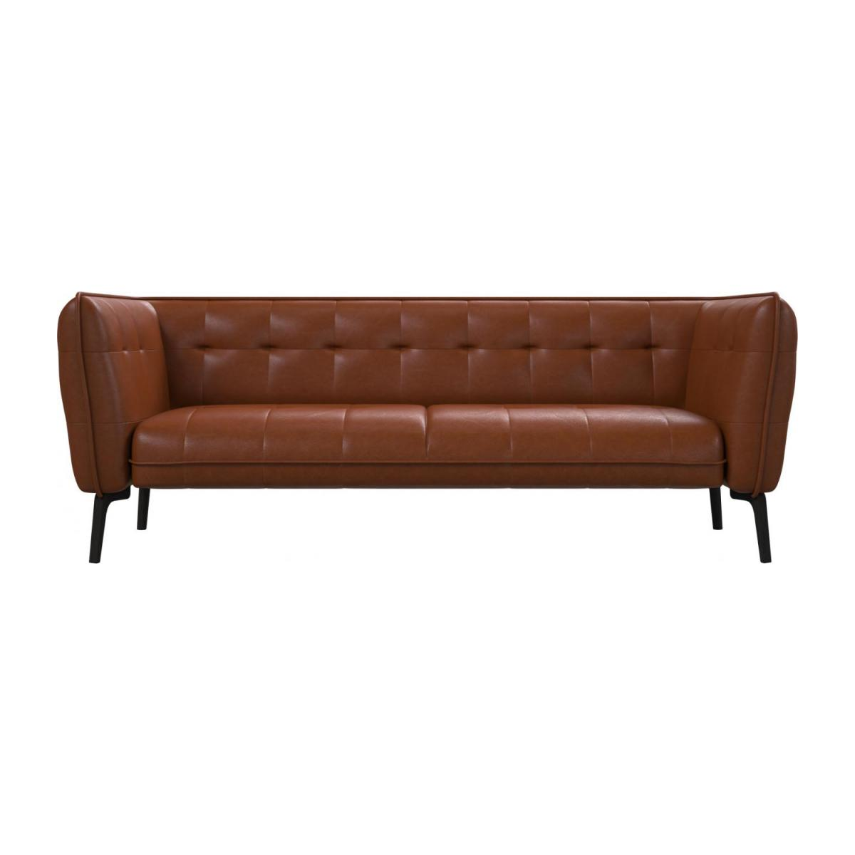 3 seater sofa in Vintage aniline leather, old chestnut and dark feet n°2