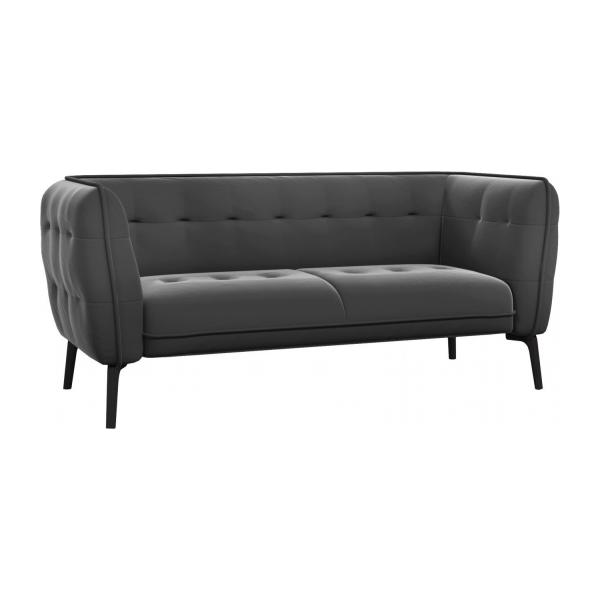 como 2 sitzer sofa aus samt grey dunkle f e habitat. Black Bedroom Furniture Sets. Home Design Ideas