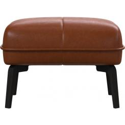 Footstool in Vintage aniline leather, old chestnut and dark feet