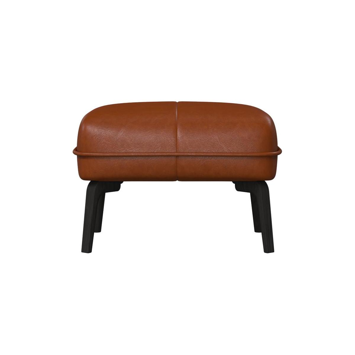 Footstool in Vintage aniline leather, old chestnut and dark feet n°3