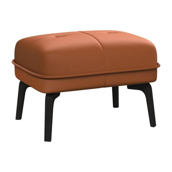 Footstool in Savoy semi-aniline leather, cognac and dark feet