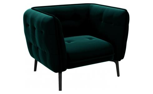 Armchair in Super Velvet fabric, petrol blue and dark feet