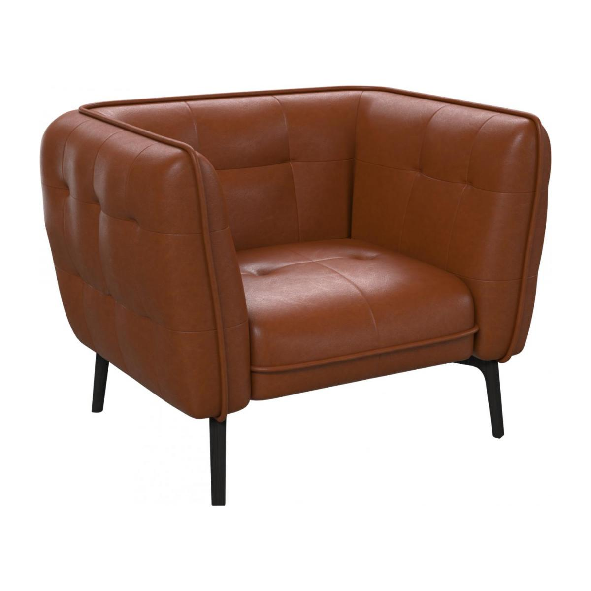 Armchair in Vintage aniline leather, old chestnut and dark feet n°1