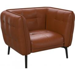 Armchair in Vintage aniline leather, old chestnut and dark feet