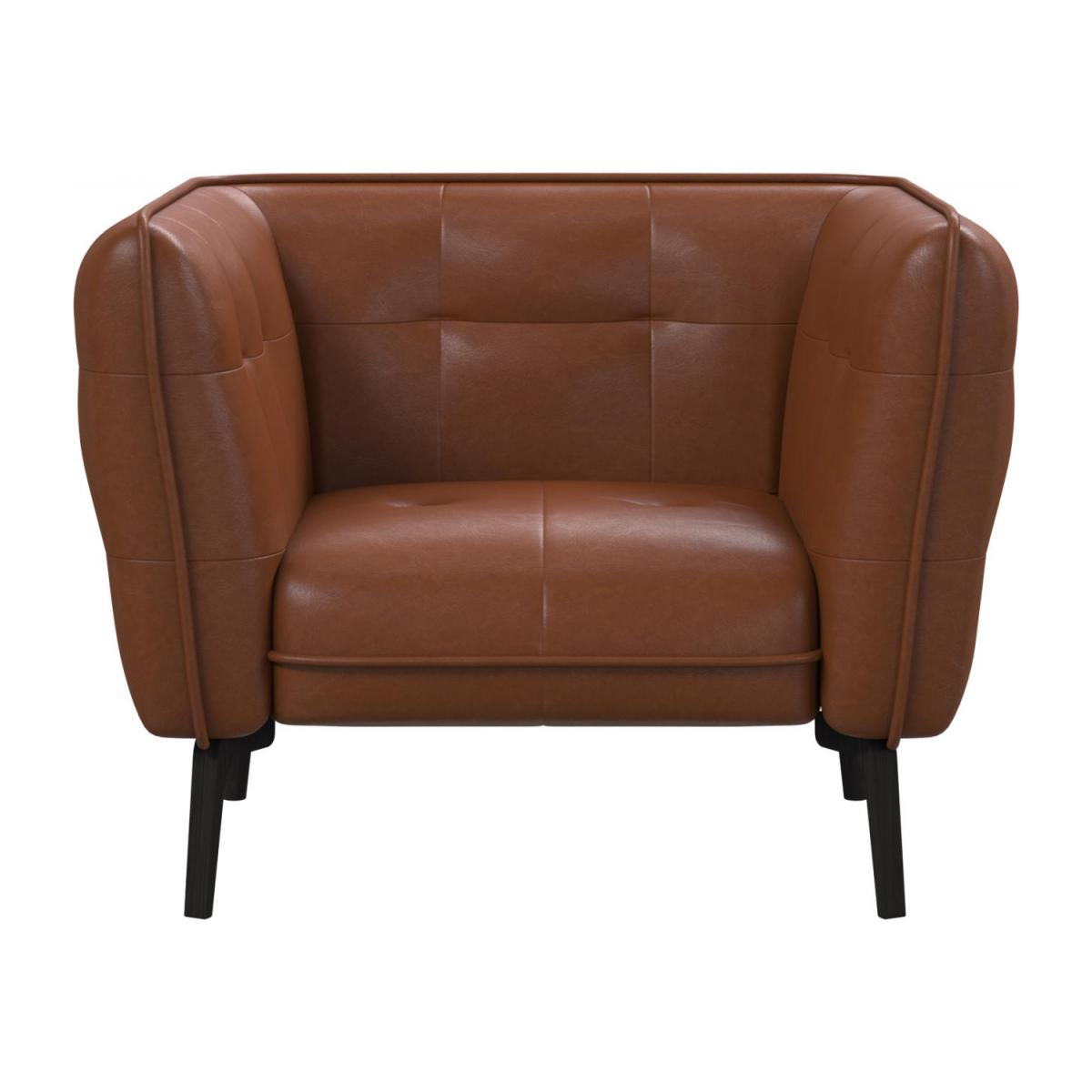 Armchair in Vintage aniline leather, old chestnut and dark feet n°2