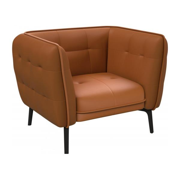 Armchair in Savoy semi-aniline leather, cognac and dark feet