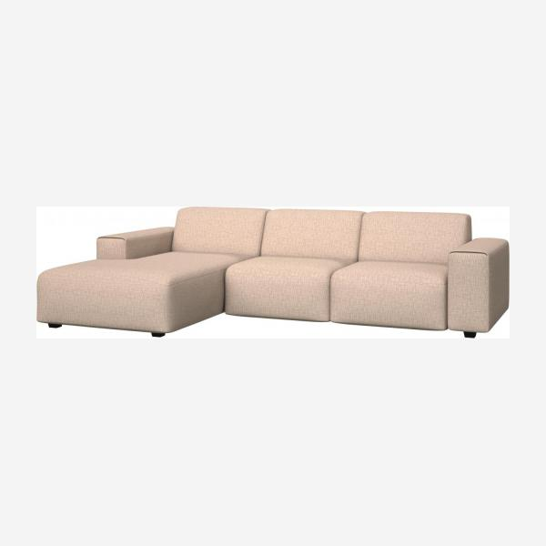 3 seater sofa with chaise longue on the left in Ancio fabric, nature