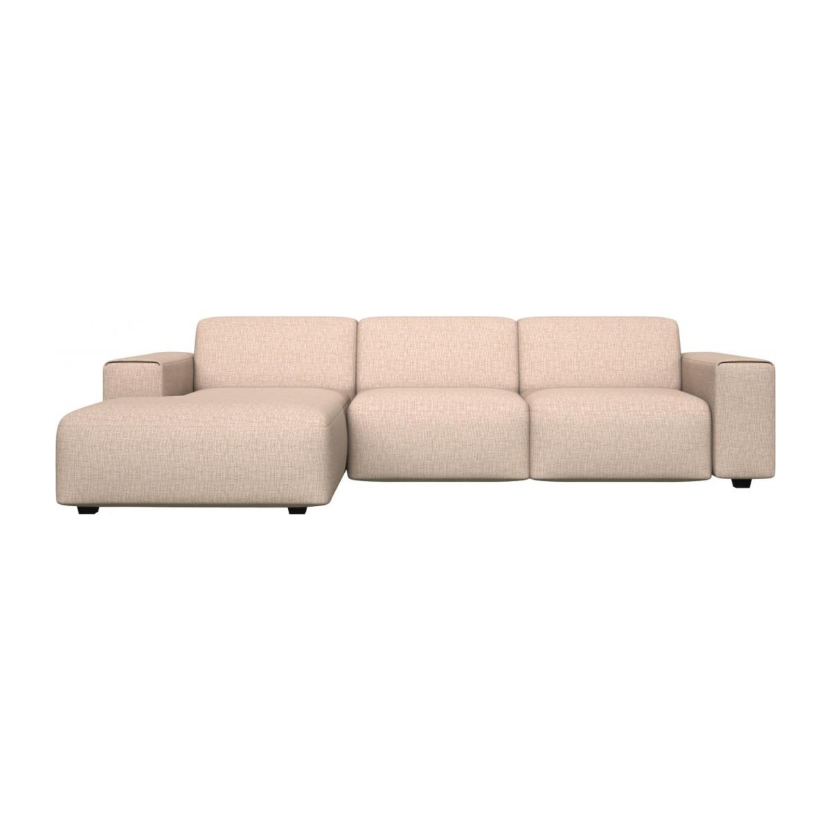 3 seater sofa with chaise longue on the left in Ancio fabric, nature n°3
