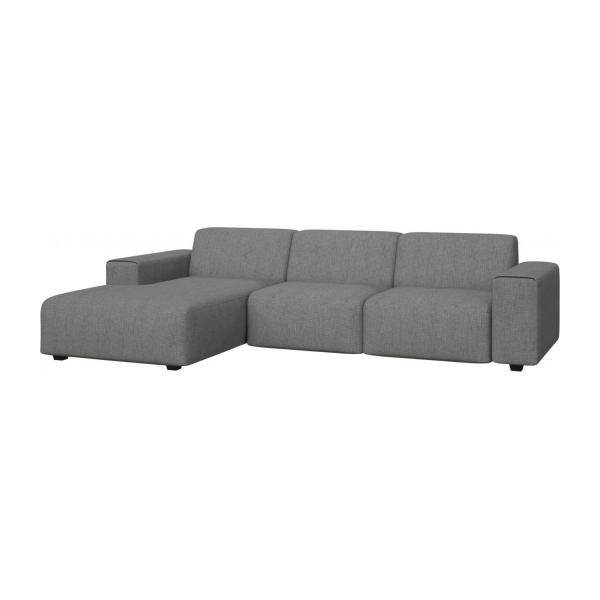 3 seater sofa with chaise longue on the left in Ancio fabric, river rock