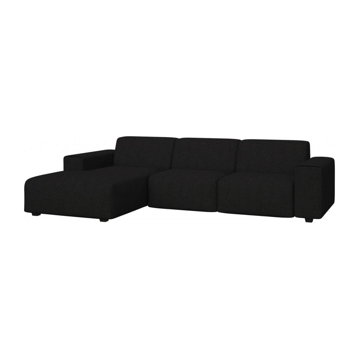 3 seater sofa with chaise longue on the left in Ancio fabric, nero n°1