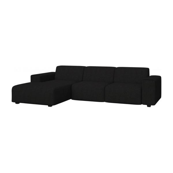 3 seater sofa with chaise longue on the left in Ancio fabric, nero